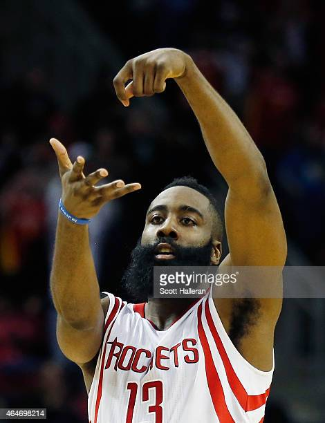 James Harden of the Houston Rockets celebrates a basket during their game against the Brooklyn Nets at the Toyota Center on February 27 2015 in...