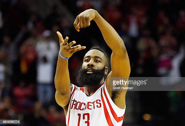 James Harden of the Houston Rockets celebrates a basket during their game against the Brooklyn Nets