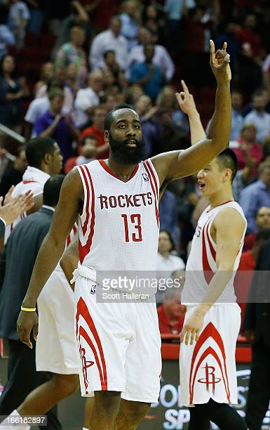 James Harden of the Houston Rockets celebrates a shot at the buzzer with Jeremy Lin to defeat the Phoenix Suns 10198 at the Toyota Center on April 9...
