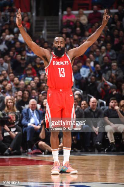 James Harden of the Houston Rockets celebrates a three point basket against the LA Clippers on February 28 2018 at STAPLES Center in Los Angeles...