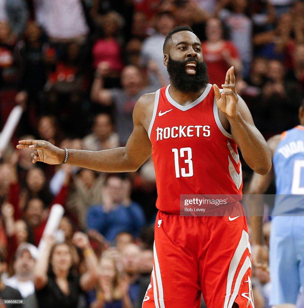 Houston Rockets News Today: James Harden Of The Houston Rockets Celebrates A Three