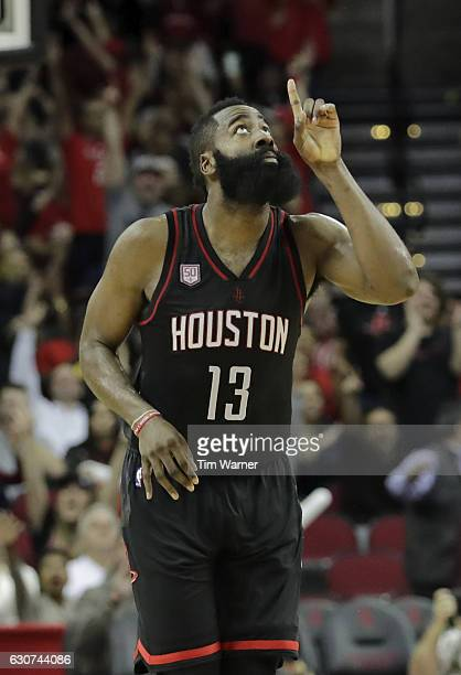 James Harden of the Houston Rockets celebrates a three point shot in the second half against the New York Knicks at Toyota Center on December 31 2016...