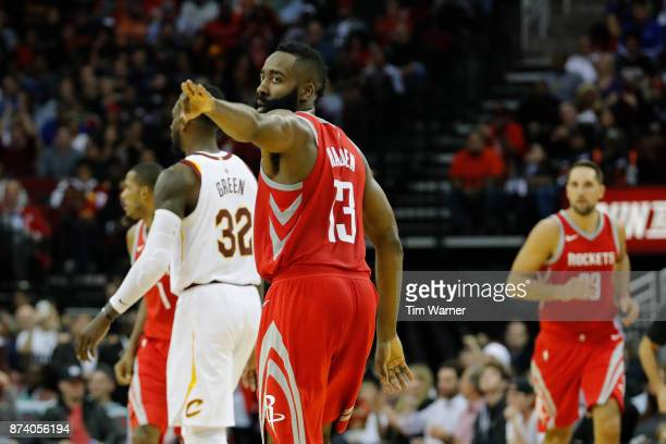 9709dc539c3 James Harden of the Houston Rockets celebrates a three point shot in the  second half against