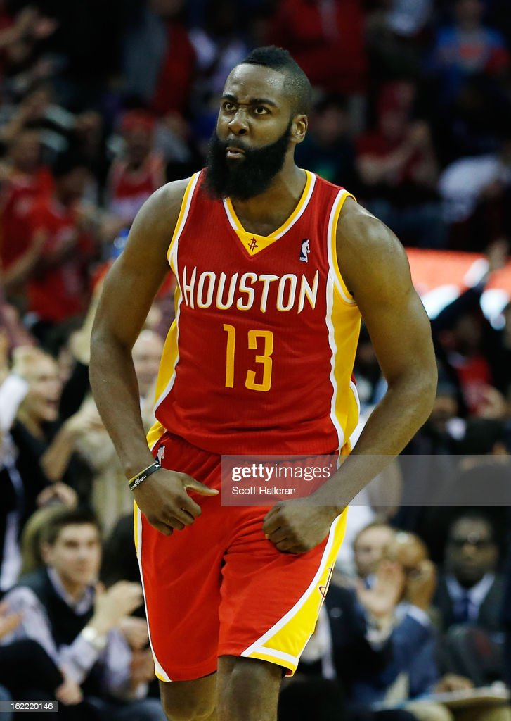 James Harden #13 of the Houston Rockets celebrates a three point shot during the game against the Oklahoma City Thunder at Toyota Center on February 20, 2013 in Houston, Texas.
