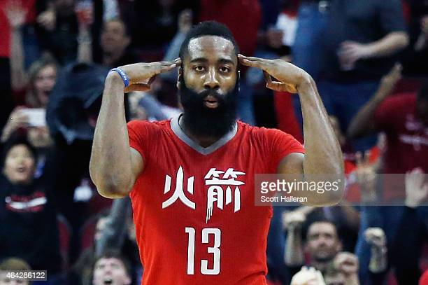 James Harden of the Houston Rockets celebrates a threepoint shot during their game against the Minnesota Timberwolves at the Toyota Center on...