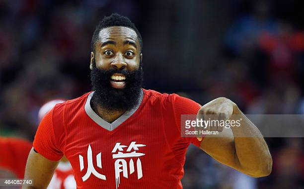 James Harden of the Houston Rockets celebrates after a basket during their game against the Toronto Raptors at the Toyota Center on February 21 2015...