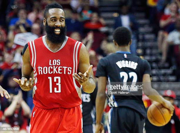James Harden of the Houston Rockets celebrates after a basket during their game against the Minnesota Timberwolves at the Toyota Center on March 27...
