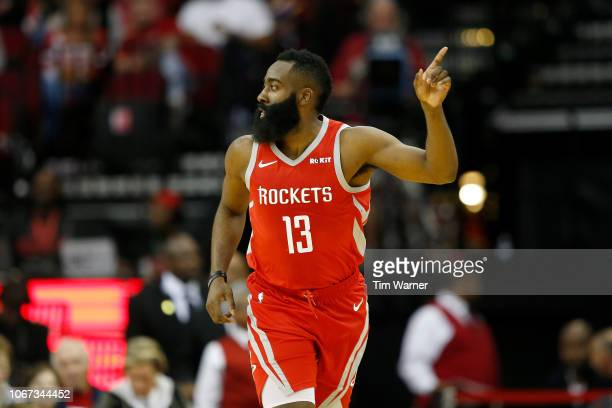 James Harden of the Houston Rockets celebrates after a three point shot in the first half against the Chicago Bulls at Toyota Center on December 1...