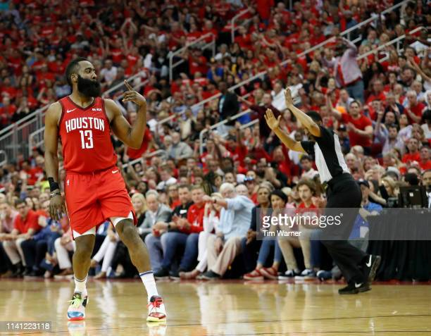 James Harden of the Houston Rockets celebrates after a three point shot in the first half during Game Three of the Second Round of the 2019 NBA...