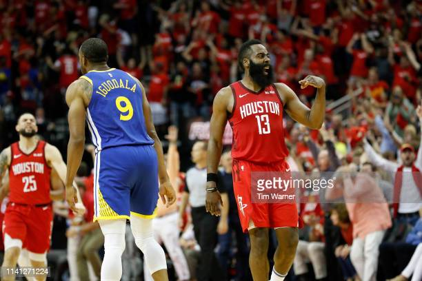 James Harden of the Houston Rockets celebrates after a three point shot in overtime during Game Three of the Second Round of the 2019 NBA Western...