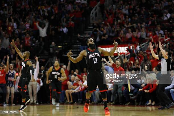 James Harden of the Houston Rockets celebrates after a three point shot in the fourth quarter against the New Orleans Pelicans at Toyota Center on...