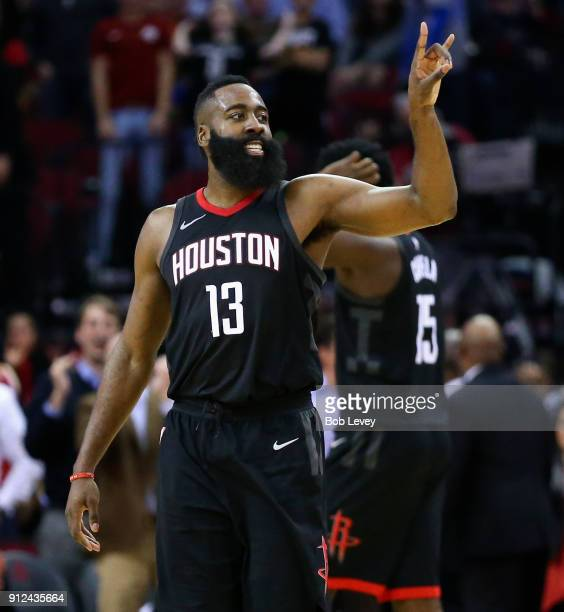 James Harden of the Houston Rockets celebrates after a threepoint shotThis was the first 60point tripledouble in NBA history James Harden surpasses...