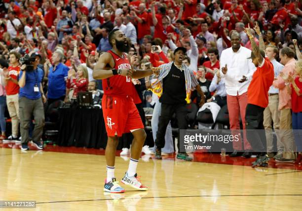 James Harden of the Houston Rockets celebrates after Game Three of the Second Round of the 2019 NBA Western Conference Playoffs against the Golden...