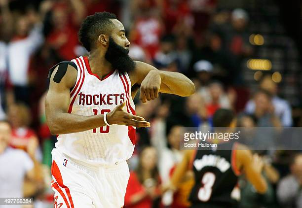 James Harden of the Houston Rockets celebrates after he hit a threepoint shot near the end of the fourth quarter against the Portland Trail Blazers...