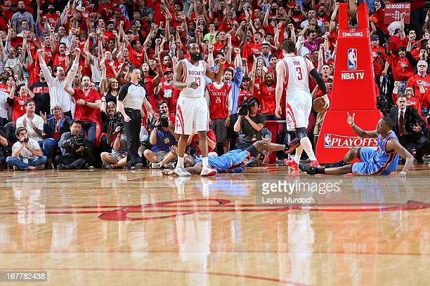 James Harden of the Houston Rockets celebrates after his team's victory against the Oklahoma City Thunder in Game Four of the Western Conference...