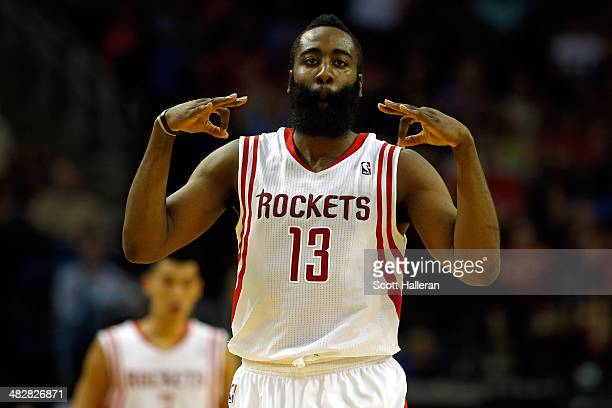 James Harden of the Houston Rockets celebrates after hitting a 25 foot three pointer in the fourth period against the Oklahoma City Thunder during a...