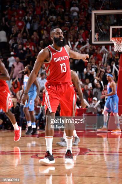 James Harden of the Houston Rockets celebrates after making a three point basket to win the game against the LA Clippers on March 15 2018 at the...