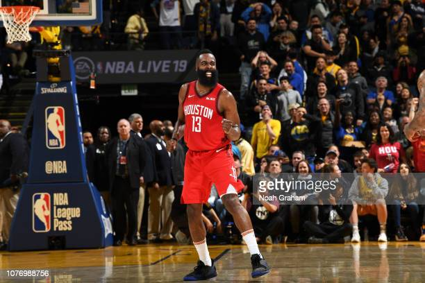 James Harden of the Houston Rockets celebrates after the game against the Golden State Warriors on January 3 2019 at ORACLE Arena in Oakland...