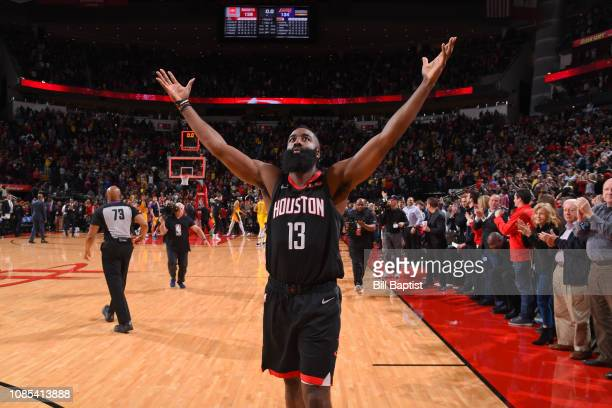 James Harden of the Houston Rockets celebrates after the game against the Los Angeles Lakers on January 19 2019 at the Toyota Center in Houston Texas...