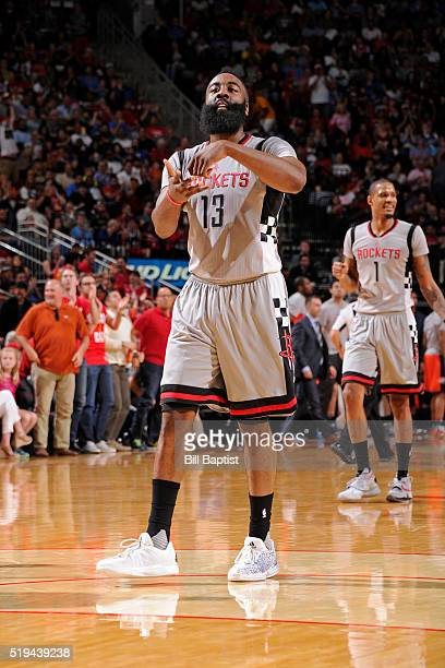 James Harden of the Houston Rockets celebrates during the game against the Oklahoma City Thunder on April 3 2016 at the Toyota Center in Houston...