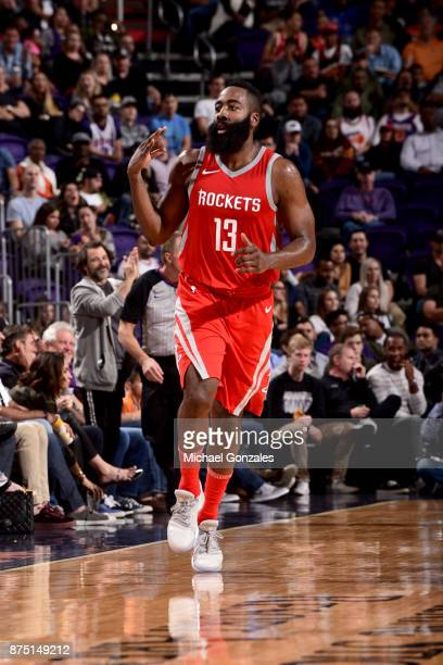 James Harden of the Houston Rockets celebrates during the game against the Phoenix Suns on November 16 2017 at Talking Stick Resort Arena in Phoenix...