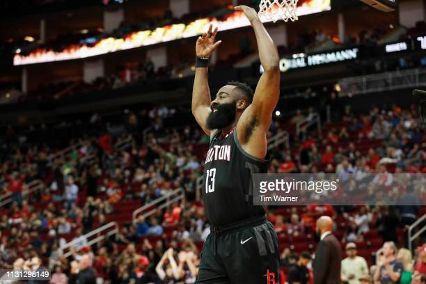 James Harden of the Houston Rockets celebrates in the second half against the Minnesota Timberwolves at Toyota Center on March 17 2019 in Houston...