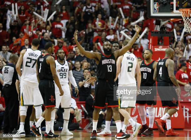 James Harden of the Houston Rockets celebrates in the second half during Game Two of the Western Conference Semifinals of the 2018 NBA Playoffs...