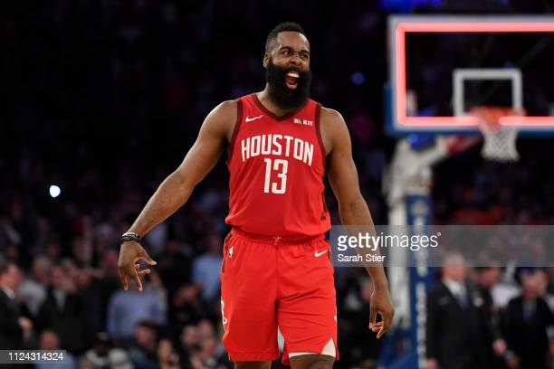 James Harden of the Houston Rockets celebrates the 114110 over the New York Knicks at the end of the game at Madison Square Garden on January 23 2019...