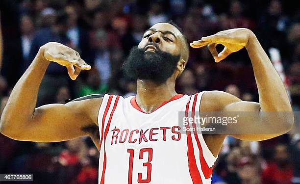 James Harden of the Houston Rockets celebratres a threepoint shot during their game against the Chicago Bulls at the Toyota Center on February 4 2015...