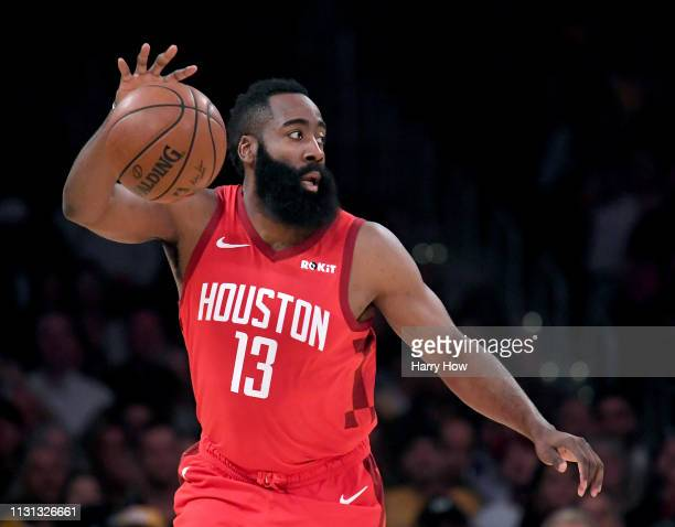 James Harden of the Houston Rockets controls the ball during a 111106 loss to the Los Angeles Lakers at Staples Center on February 21 2019 in Los...