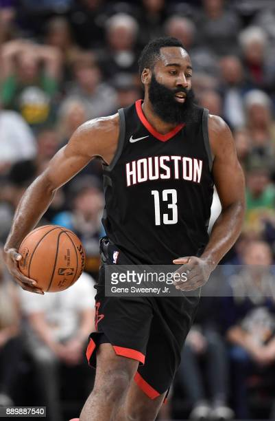James Harden of the Houston Rockets controls the ball up court against the Utah Jazz during their game at Vivint Smart Home Arena on December 7 2017...