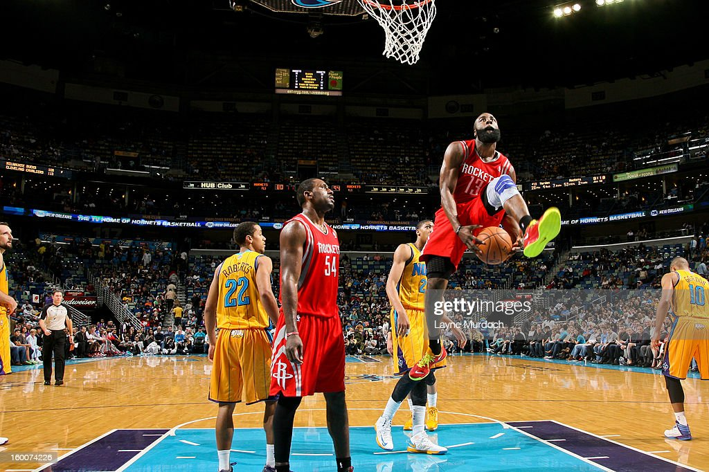 James Harden #13 of the Houston Rockets crosses the ball between his legs while driving to the basket after play was stopped against the New Orleans Hornets on January 25, 2013 at the New Orleans Arena in New Orleans, Louisiana.