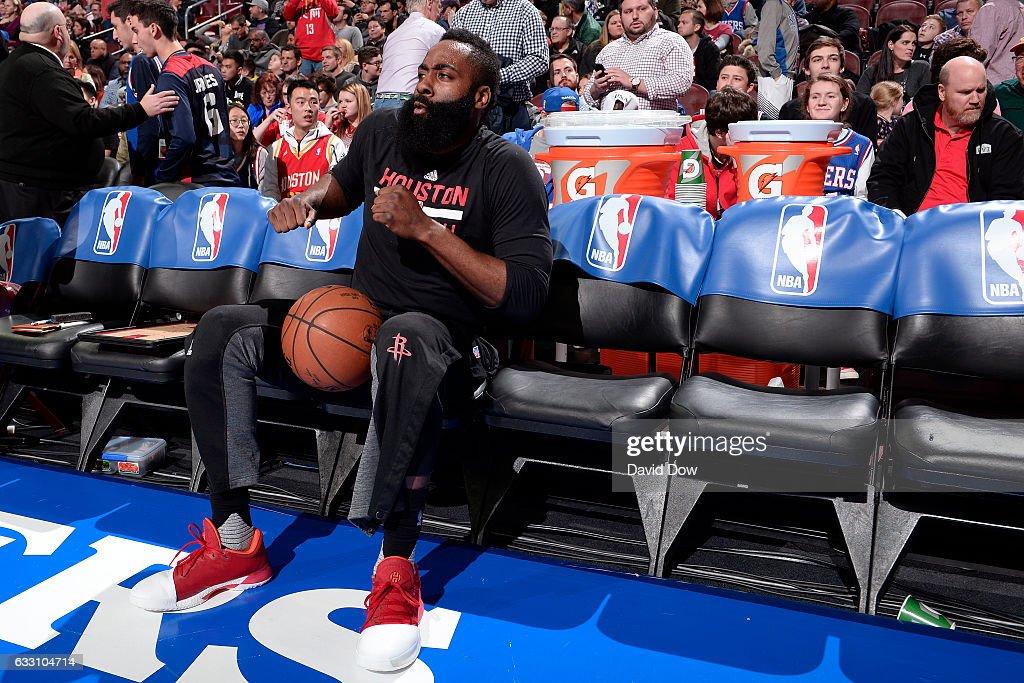 James Harden #13 of the Houston Rockets dances on the bench before the game against the Philadelphia 76ers at Wells Fargo Center on January 27, 2017 in Philadelphia, Pennsylvania