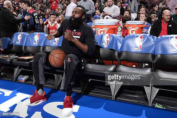James Harden of the Houston Rockets dances on the bench before the game against the Philadelphia 76ers at Wells Fargo Center on January 27 2017 in...