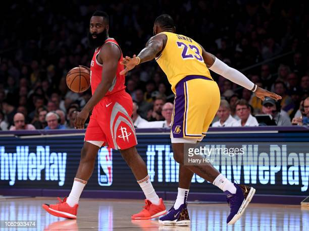 James Harden of the Houston Rockets dribbles as he is guarded by LeBron James of the Los Angeles Lakers during a 124115 Rockets win at Staples Center...