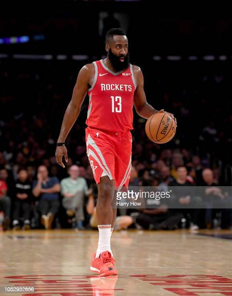 James Harden of the Houston Rockets dribbles during a 124115 win over the Los Angeles Lakers at Staples Center on October 20 2018 in Los Angeles...