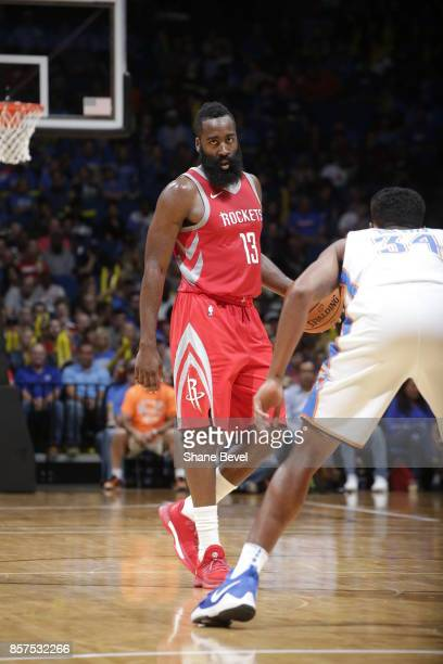 James Harden of the Houston Rockets dribbles during the preseason game on October 3 2017 at the BOK Center in Tulsa Oklahoma NOTE TO USER User...
