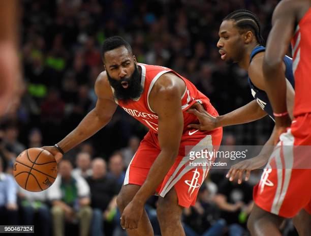 James Harden of the Houston Rockets dribbles the ball against Andrew Wiggins of the Minnesota Timberwolves during the first quarter in Game Four of...