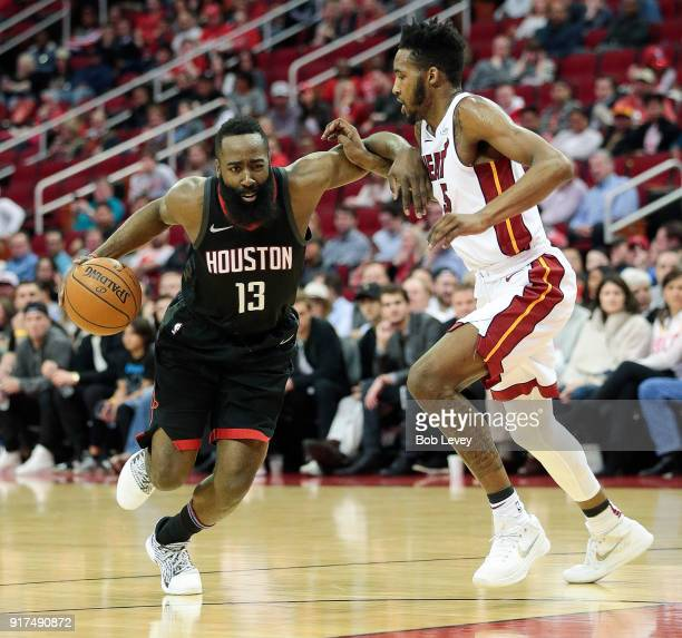 James Harden of the Houston Rockets drives on Derrick Jones Jr #5 of the Miami Heat at Toyota Center on January 22 2018 in Houston Texas NOTE TO USER...
