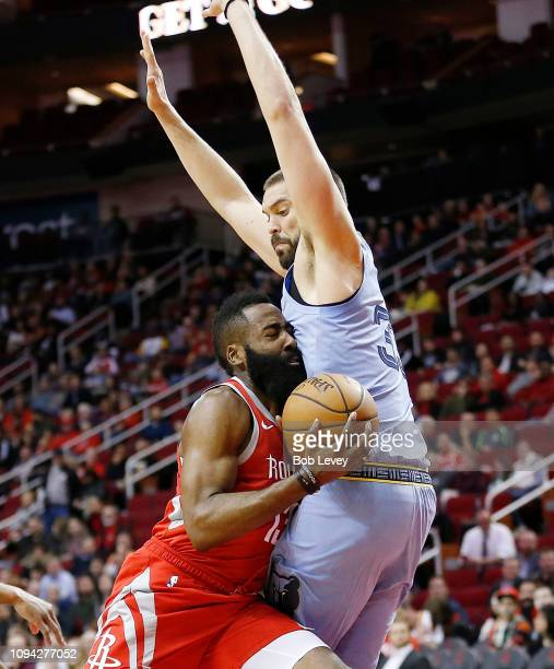 James Harden of the Houston Rockets drives on Marc Gasol of the Memphis Grizzlies at Toyota Center on January 14 2019 in Houston Texas NOTE TO USER...