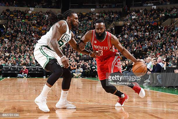 James Harden of the Houston Rockets drives to the basket against Jae Crowder of the Boston Celtics during the game on January 25 2017 at the TD...