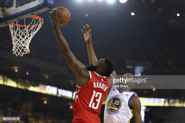 James Harden of the Houston Rockets drives to the basket against Kevin Durant of the Golden State Warriors during Game Six of the Western Conference...