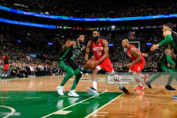James Harden of the Houston Rockets drives to the basket against the Boston Celtics on March 3 2019 at the TD Garden in Boston Massachusetts NOTE TO...
