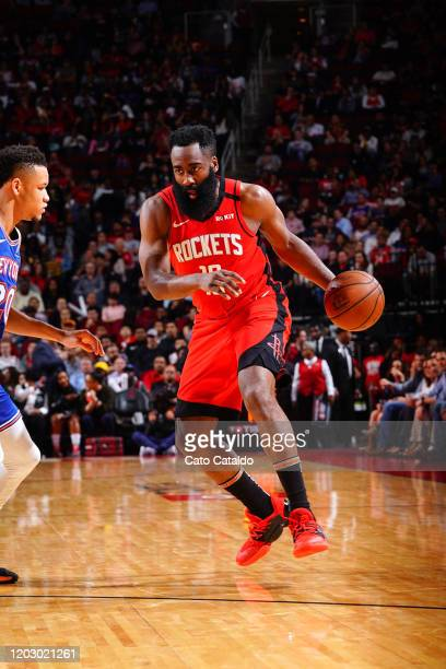 James Harden of the Houston Rockets drives to the basket against the New York Knicks on February 24 2020 at the Toyota Center in Houston Texas NOTE...