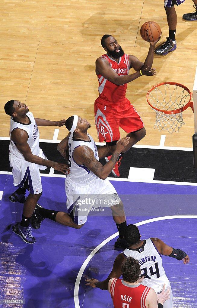 James Harden #13 of the Houston Rockets drives to the basket against the Sacramento Kings on April 3, 2013 at Sleep Train Arena in Sacramento, California.