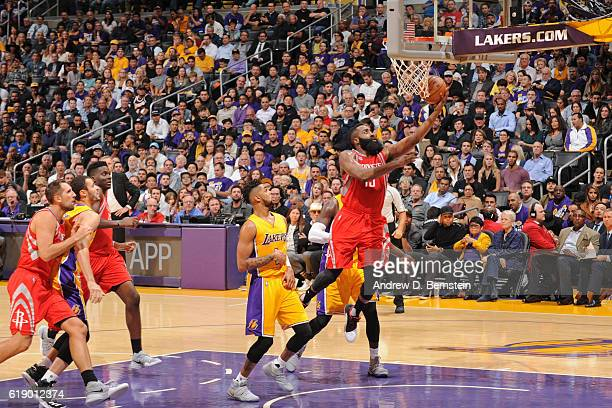 James Harden of the Houston Rockets drives to the basket against the Los Angeles Lakers on October 26 2016 at STAPLES Center in Los Angeles...