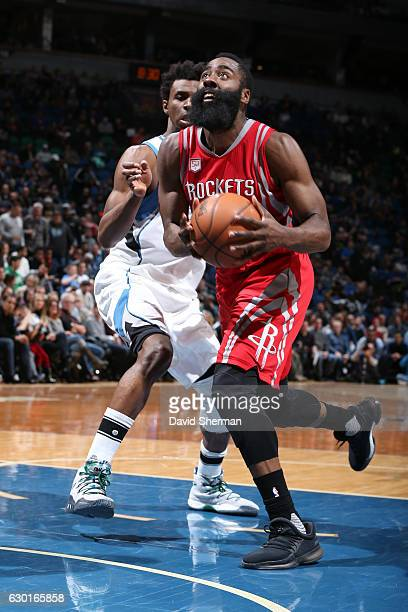 James Harden of the Houston Rockets drives to the basket against the Minnesota Timberwolves on December 17 2016 at Target Center in Minneapolis...