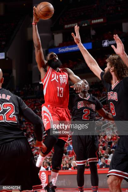 James Harden of the Houston Rockets drives to the basket against the Chicago Bulls during the game on February 3 2017 at the Toyota Center in Houston...