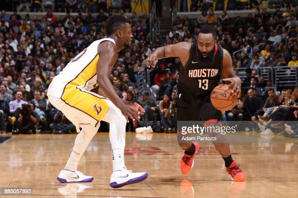 James Harden of the Houston Rockets drives to the basket against the Los Angeles Lakers on December 3 2017 at STAPLES Center in Los Angeles...