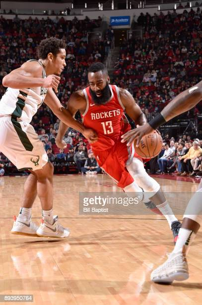 James Harden of the Houston Rockets drives to the basket against the Milwaukee Bucks on December 16 2017 at the Toyota Center in Houston Texas NOTE...